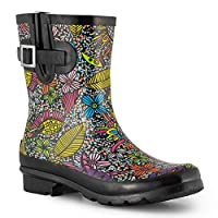 SheSole Ladies Short Wellies Wellington Boots Womens Waterproof Rubber Floral