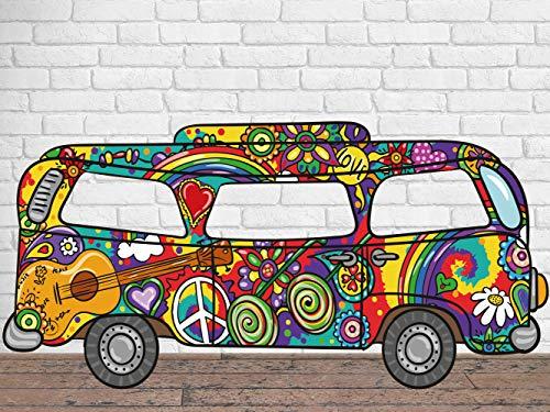 Photocall para Bodas en Cartón Furgoneta Hippie 300X150cm | Photocall