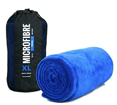 Xl, asciugamano da spiaggia/viaggio in microfibra, 2 x 1m, 400g/mq, super morbido, asciugatura rapida e altamente assorbente, blue