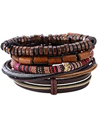 Demiawaking Men's Mixed Bracelets Adjustable Handmade Multi Strand Braided Cowhide Bracelets Rope Wristbands Wooden Beads Bracelet Wrist