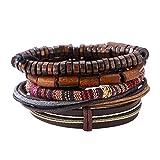 Demiawaking Men's Mixed Bracelets Adjustable Handmade Multi Strand Braided Cowhide Bracelets Woven Leather Wristbands Wooden Beads Bracelet Wrist