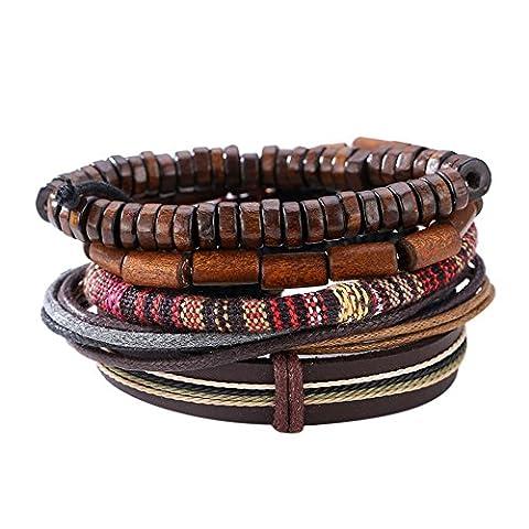 La Cabina Femme Homme Bracelet Bijou de Poignet Bangle en Perles Pu Cuir Multicouches avec Pendentif Charmant Symbole Bonne Chance (Q)