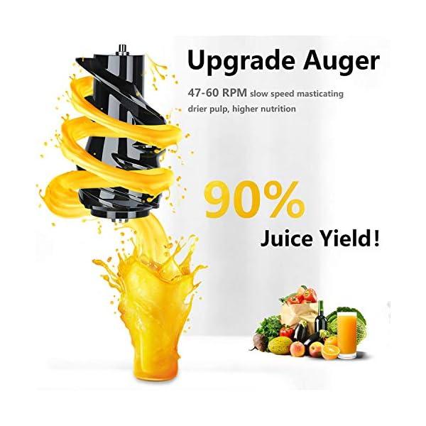 Aobosi Estrattore di Succo a Freddo Slow Juier 80mm Con la Bocca Estrattore di Succo Pressa a Freddo Motore Silenzioso Alta Nutriente Succo di Frutta e Verdura Barattolo di Succo e Spazzola - 2021 -