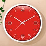 ZDD Wohnzimmer Schlafzimmer Wanduhr stumm große Flip-Chart dekorative Uhr (Farbe : Red, größe : Ø.35.5cm(ø14in))