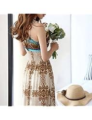 hrph Vestido de mujeres atractivas del verano floral con cuello en V de la playa de Bohemia del vestido maxi largo del vestido