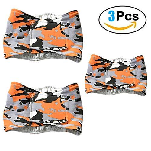 Haolv 3 PCS männlich Wiederverwendbare Wrap Windel waschbar Welpen Bauchband,Orange,S -