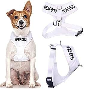 chien sourd White Coded Nylon rembourré étanche petite veste harnais pour chien (Non / audience limitée) prévient les accidents en avertissant les autres de votre chien à l'avance
