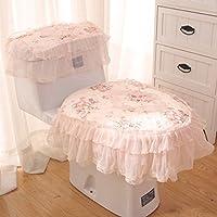 MEI Alfombra de baño Alfombra antideslizante Inodoro de temporada de tres piezas de encaje Tela Cremallera cojín de asiento de inodoro Cubierta de asiento de inodoro ( Color : A )