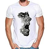 T Shirt Herren, HUIHUI Coole V-Ausschnitt Kurzarm Sweatshirt Slim Fit Basic uv Polo-Shirt Mode Sport Oberteile Oversize Bench Tops Schädel Drucken Sommer Freizeit Hemd Poloshirt (XXL, Weiß)