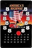 Blechschild geprägt Kalender America Route 66 mit Markierungsmagnet 20 x 30 cm Reklame Retro Blech 493