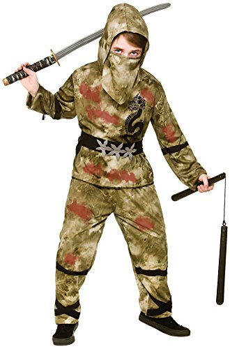 Zombie Kids Kostüm Ninja - Kids Boys Zombie Ninja Halloween Fancy Dress Costume