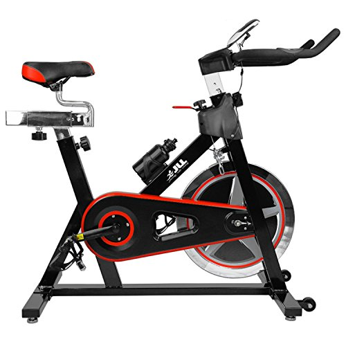 51F QwEm3XL - BEST BUY #1 JLL® IC300 Indoor Exercise Bike 2016, Cardio Workout, 18KG Flywheel Smooth Cycling, Adjustable Handlebars & Seat, Heart Rate Sensors & On Board Computer reads Speed, Distance, Time, Calories + Pulse (Black) Reviews and price compare uk