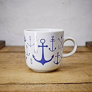 Kaffeebecher / Becher maritimes Design Anker - Porzellan blau-weiss von Ahoi Marie