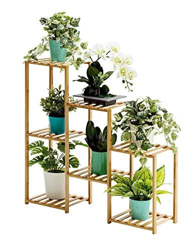 """YLongFEI Blumenstand Bambuspflanze Ständer Ständer, Blumentöpfe Halter Rack-Badezimmer-Rack Storage Rack Regal for Innen Außen Garten Terrasse, Balkon, 33""""x10 x31.4"""