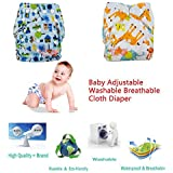 Wishkey Adjustable Reusable Diapers For New Born Baby Pack Of 2 | Washable Cloth Diaper For Babies With 1 Absorbent Wet Free Insert |All In One S,M, L,XL Size Diaper Pants Type For 0-2 Years Kids