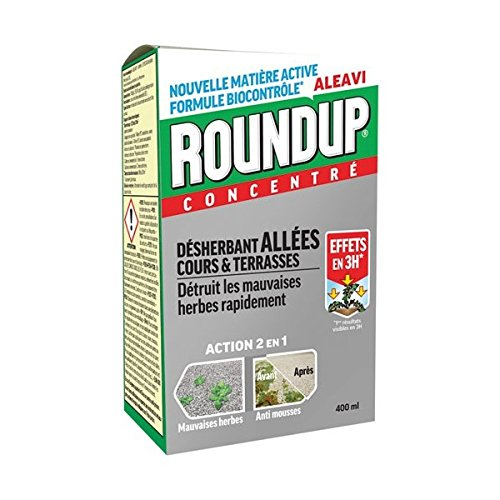 Roundup Désherbant Total concentré Nouvelle Formule Bio Contrôlée 400ML sans Glyphosate Allées...