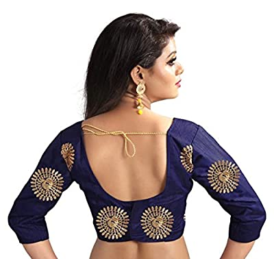 Dwarkesh Fashion Blue Bangalore Silk Blouse Material