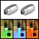 2er SET LED Wasserhahnaufsatz / Perlator mit 3 verschiedenen Farben, Farbe ist Abhängig von der Wassertemperatur - Marke Ganzoo