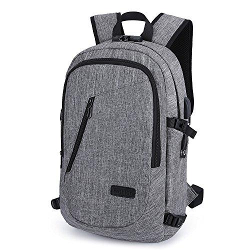 WinCret Mochila Antirrobo hasta 15.6 Pulgadas Mochila para portátil - Resistente al Agua Computer Backpack con Cerradura y Puerto de Carga USB y Toma de Auriculares para Hombres y Mujeres