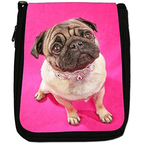 Asiatica carlino Dogs in porcellana Love, colore: nero, Borsa a spalla in tela da uomo, taglia media Nero (Pretty Pug Wearing Jewellery)