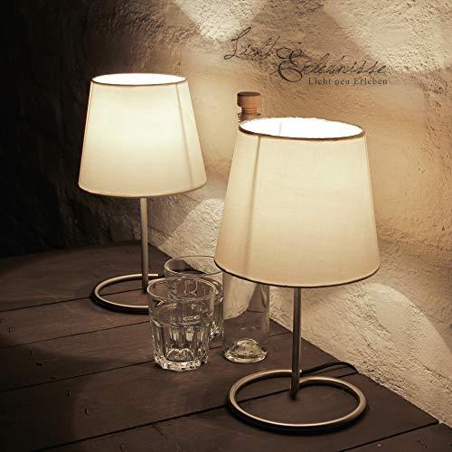 Elegante Tischleuchte 2er Set Metall Stoff Schirm Weiß H:33cm Nachttisch Lampe Schlafzimmer Wohnzimmer