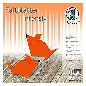Ursus 3145141Plegable Hojas Uni, 65g/m², Aprox. 20x 20cm, 100Hojas, Color Naranja