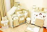 Lux4Kids Kinderbettausstattung Bett Set 135x100 Nestchen Wickelauflage Himmel & Stange Mobile Kopfkissen Spannbettlacken 16 Herz Ecru & Braun