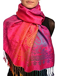 Mirrored Ombre Paisleys On Magenta Pashmina Feel With Tassels - Pink Pashmina Floral Scarf