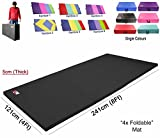 Yoga Four Folding Mat 5cm (Same like Tri Folding Mat) Thick Foam Mats Yoga Gym Abs Exercise Home Fitness Workout (Black)