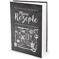 XXL Rezeptbuch zum Selberschreiben TAFEL-KREIDE-LOOK schwarz-weiß DIN A4 Notizbuch eigenes Kochbuch Küche 164 Seiten MEINE REZEPTE - Geschenk Kochen Ernährung Essen