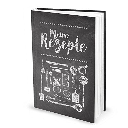XXL Rezeptbuch zum Selberschreiben TAFEL-KREIDE-LOOK schwarz-weiß-grau DIN A4, 164 Seiten + Register zum freien Gestalten, DIY