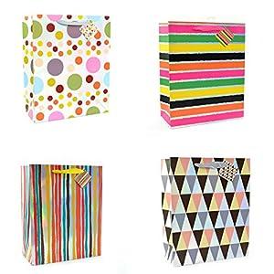 Gifts 4 All Occasions Limited SHATCHI-522 - Juego de 3 bolsas de papel para regalo de cumpleaños, boda, Navidad, multicolor