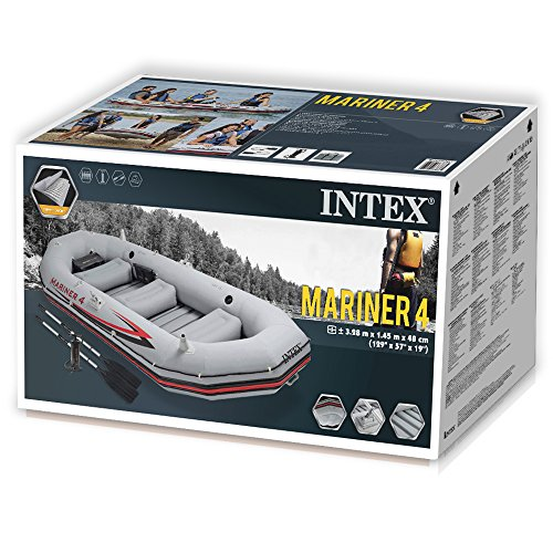 Intex Schlauchboot Boot Mariner 4 Set Phthalates Free Inkl. Paddel und Luftpumpe - Professional Series, 68376np -