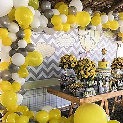PuTwo Grau Gelb Weiß Luftballons 60 Stück Grau Luftballons Luftballons Weiß Welb Luftballons, Luftballons Matt Helium Luftballons für Grau Deko Hochzeit, Partydeko Weiß, Deko Taufe, Baby Shower