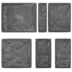 @tec Betonform Schalungsform Gießform Plastikformen für Beton, Naturstein Klinker/Wandverkleidung/Wandverblender/Verblendsteine für innen/außen, 6er-Set Klinker/Riemchen Stein-/Bruchsteinoptik
