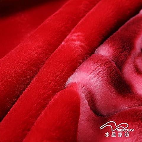 BDUK Encajes Raschel manto rojo de invierno de boda con una capa doble de grueso y cálido invierno mantas