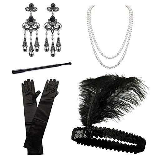 Yeioxiue 1920er Jahre Zubehör Stirnband Ohrringe Halskette Handschuhe Zigarettenspitze Cosplay Halloween Party Für Frauen Flapper Kostüm Kopfschmuck