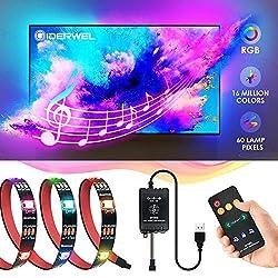 GIDERWEL DreamColor Musik RGB LED Streifen mit LED Music Controller 2m 5V USB Powered Adressierbare TV Hintergrundbeleuchtung mit Fernbedienung für 40-60''HDTV zuanwenden,Spiele,zu Hause usw