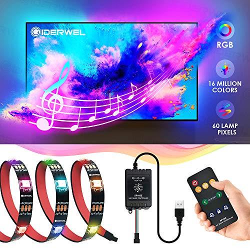 GIDERWEL DreamColor Musik RGB LED Streifen mit LED Music Controller 2m 5V USB Powered Adressierbare TV Hintergrundbeleuchtung mit Fernbedienung für 40-60\'\'HDTV zuanwenden,Spiele,Hause usw