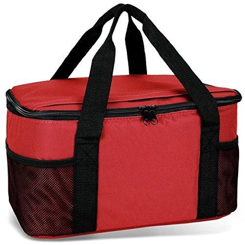 noorsk Kühltasche 20 Liter Einkaufstasche Strandtasche Picknicktasche Kühlbox Picknickkorb in vielen Farben - rot