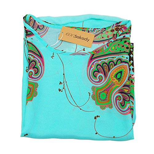 Oksakady Plus Size T-Shirt per Donne Chiffon Batwing 3/4 Manica Doman Tunica Boho-05