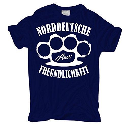 Männer und Herren T-Shirt Norddeutsche Freundlichkeit körperbetont dunkelblau