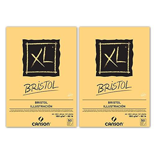 canson-xl-bristol-lot-de-2-blocs-de-papier-a-dessin-colles-petit-cote-50-feuilles-180-g-a3-blanc