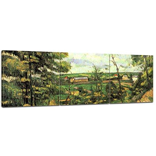 Wandbild Paul Cézanne Das Tal der Oise - 120x40cm Panorama mehrteilig quer - Alte Meister Berühmte Gemälde Leinwandbild Kunstdruck Bild auf Leinwand -