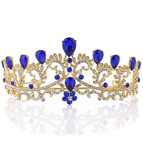 in Krone Handgemachte Kristall Tiara Stirnband Krone Kopfschmuck Braut Hochzeit Prom Strass Krone-Tiara (Color : Blue, Size : 15.5 * 6.5cm) ()