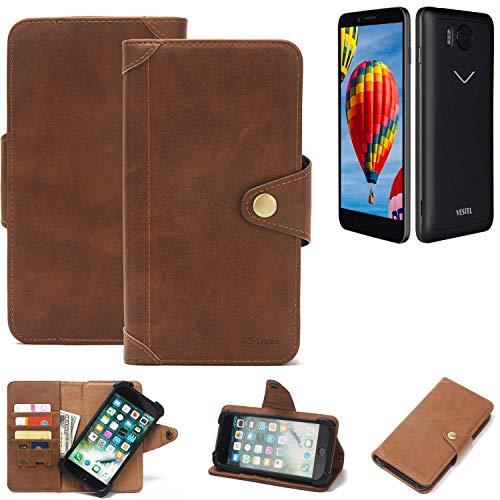K-S-Trade® Handy Hülle Für Vestel V3 5580 Schutzhülle Walletcase Bookstyle Tasche Handyhülle Schutz Case Handytasche Wallet Flipcase Cover PU Braun (1x)