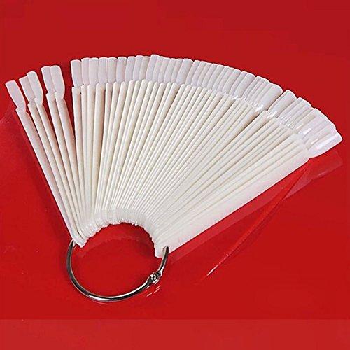 50 Tips forme éventail vernis à ongle panneau(White)