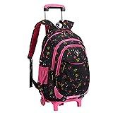 Bolsa de escuela mochila de escuela ruedas chica niña nailón impermeable desmontable para alumnas la escuela primaria (Negro)