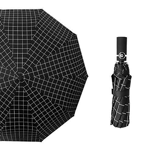 Money dock Automatischer schwarzer Plastikfalten Retro einfacher Regenschirm der Männer und der Frauen (Color : 01) -