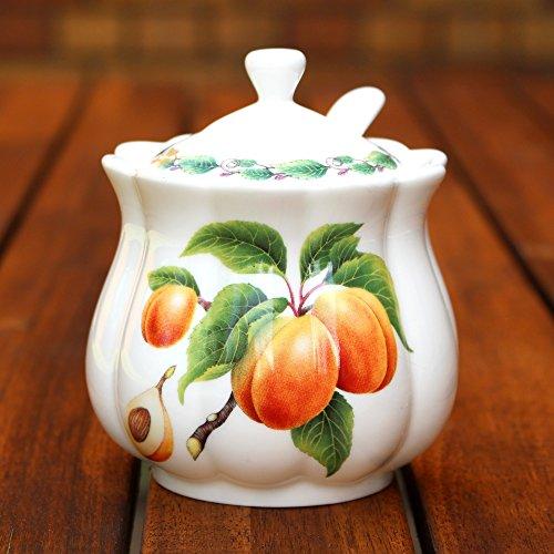 Classic Marmeladendose und Löffel, Apricot - Jam Pot
